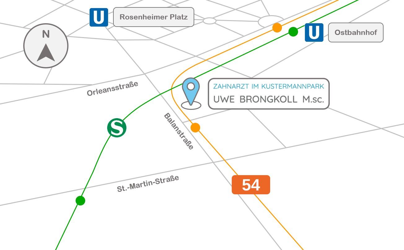 Anfahrt Uwe Brongkoll Haidhausen Ostbahnhof Rosenheimer Platz